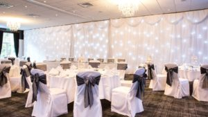 Meldons Suite laid out for a wedding reception