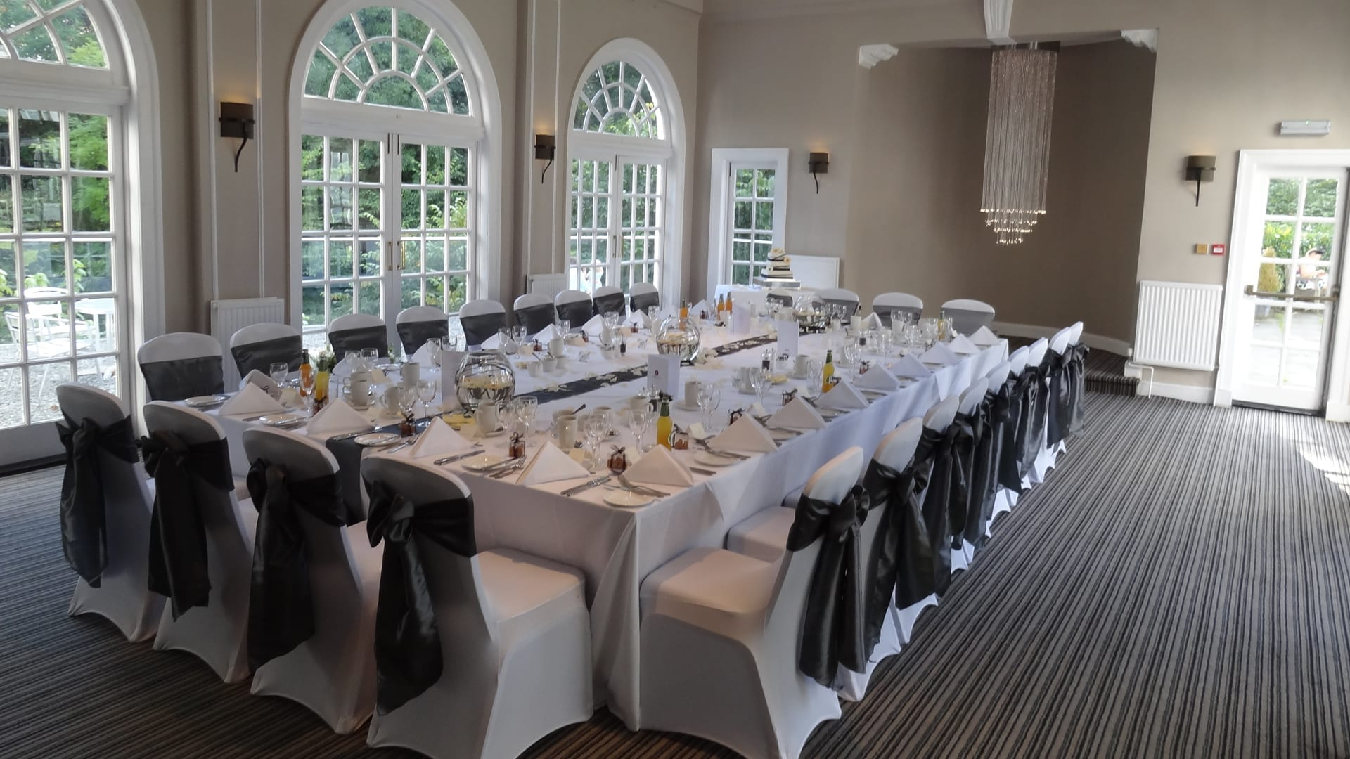 A wedding breakfast in the Elibank Suite at Barony Castle