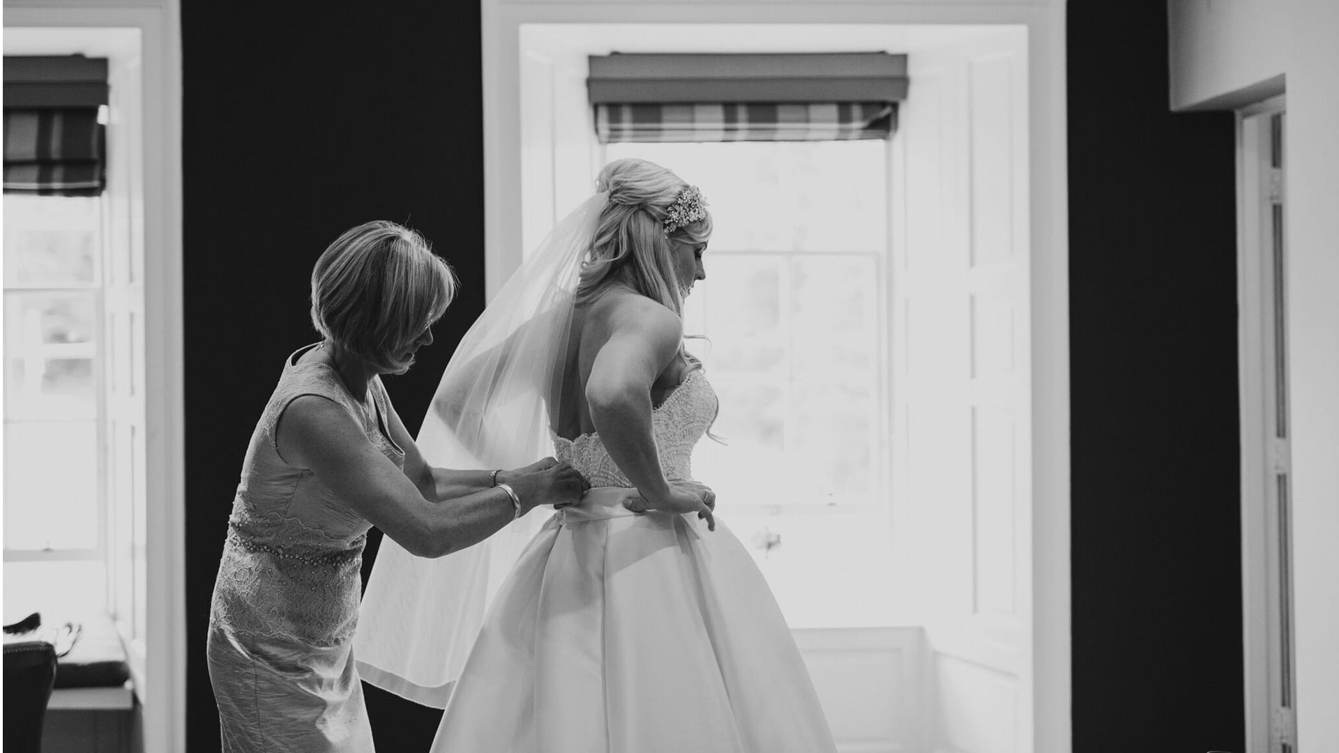 Bride getting ready at Barony Castle