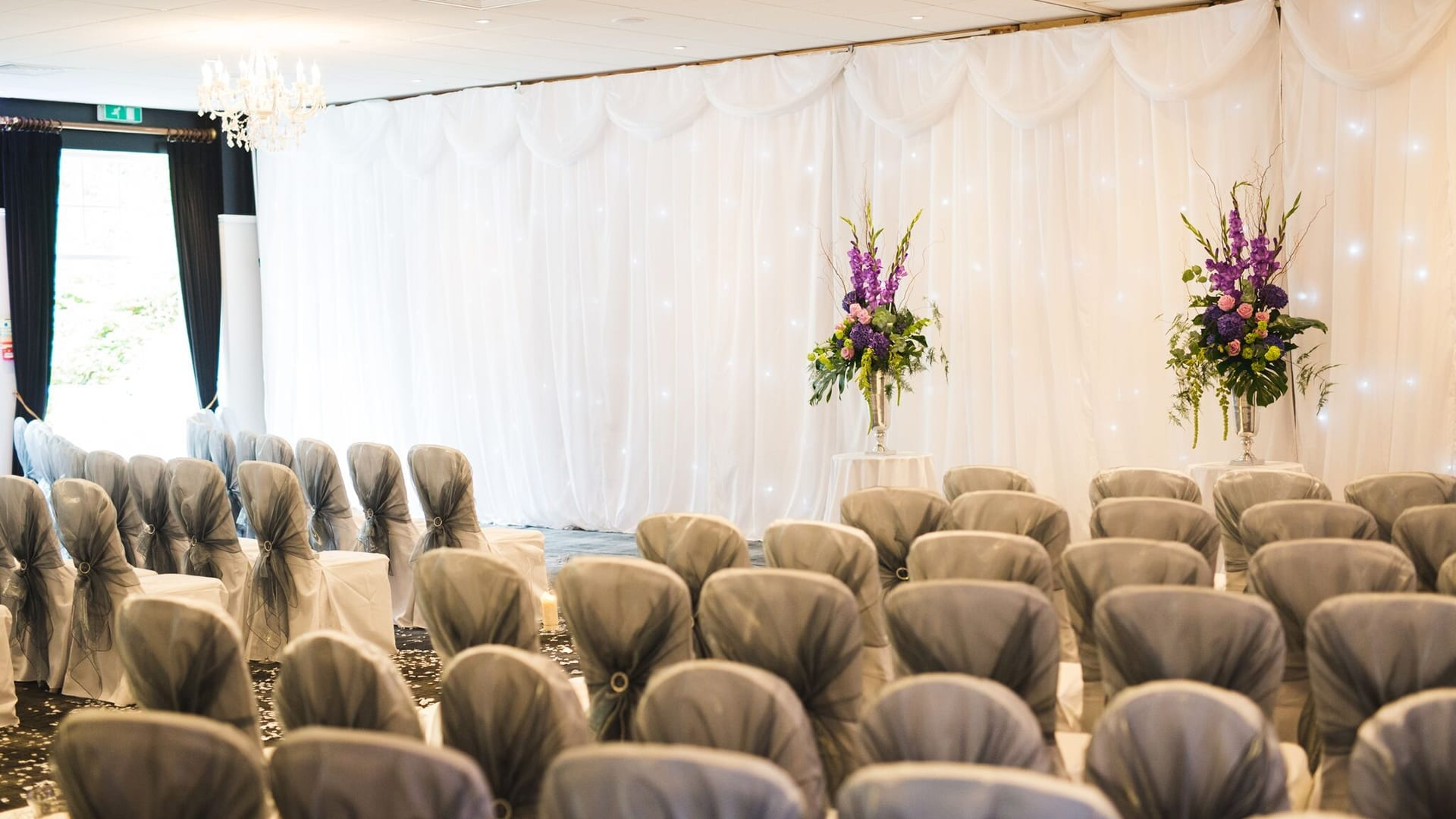 Wedding ceremony layout at Barony Castle