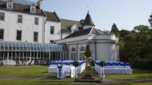 The courtyard at Barony Castle laid out for a wedding ceremony