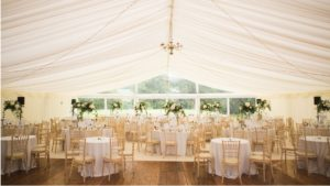 Marquee set up for wedding reception at Barony Castle