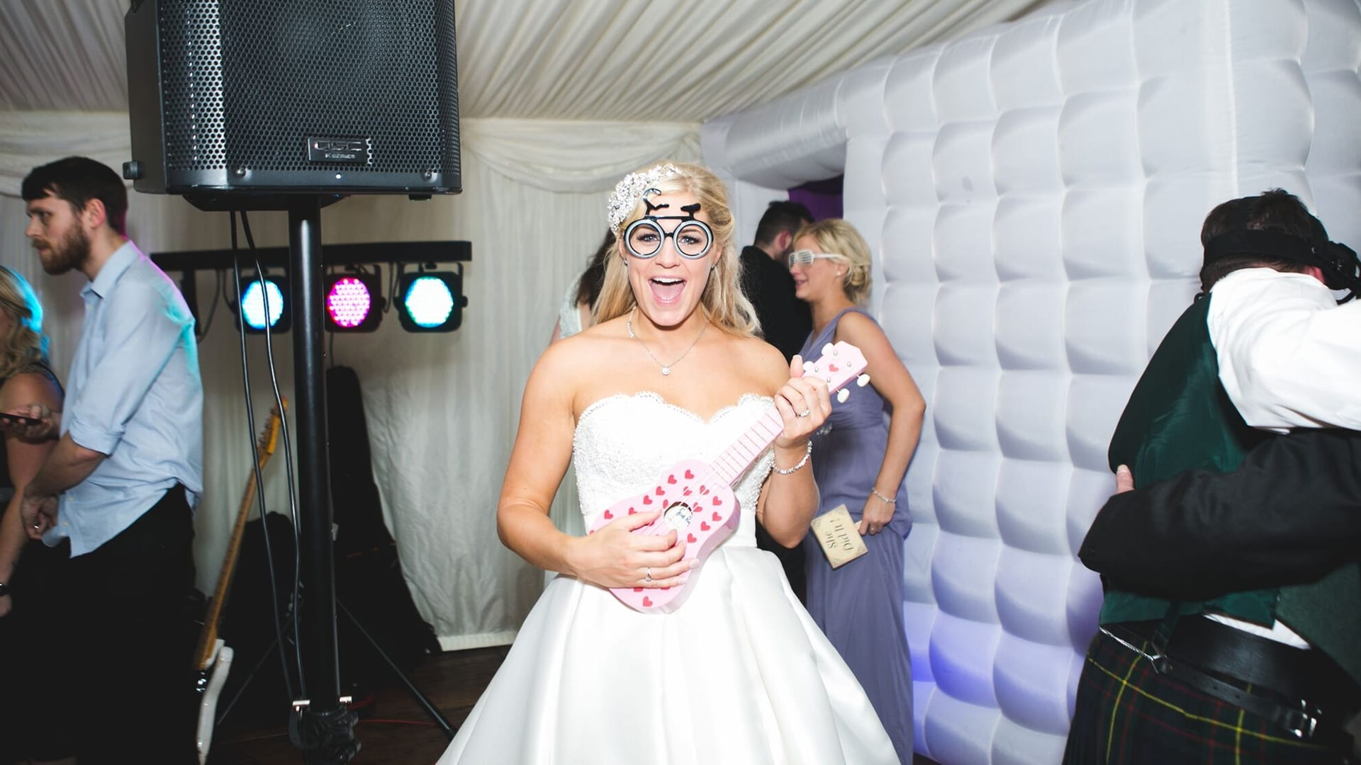 Bride enjoying reception at Barony Castle