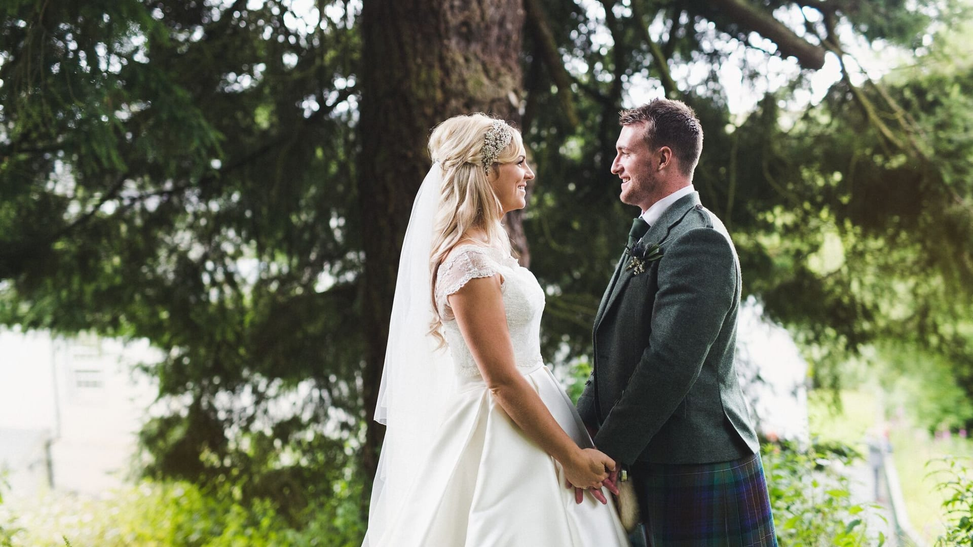 Bride and groom in outdoor photo at Barony Castle