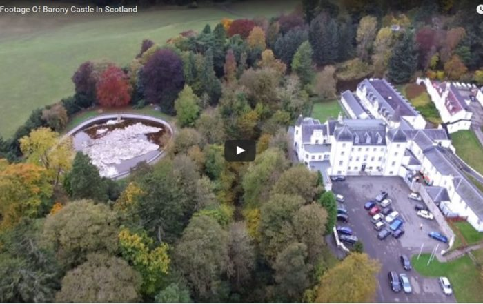 Drone footage of Barony Castle
